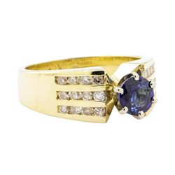 1.44 ctw Blue Sapphire And Diamond Ring - 14KT Yellow Gold