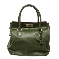 Hermes Green Leather Toolbox Satchel Handbag