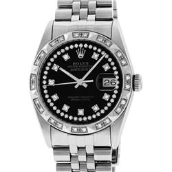 Rolex Mens Stainless Steel Black String Pyramid Diamond Bezel Datejust Wristwatc