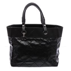 Chanel Black Quilted Coated Canvas Large Paris-Biarritz Tote Bag