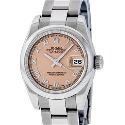 Rolex Ladies Stainless Steel Salmon Quickset Datejust Wristwatch With Rolex Box