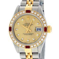 Rolex Ladies 2 Tone 18K Quickset Champagne Diamond & Ruby Datejust Wristwatch