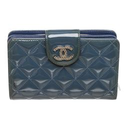 Chanel Blue Quilted Patent Leather Compact Wallet