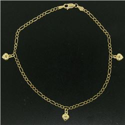 """14K Yellow Gold Puffed Heart Charm Figaro Link 10"""" Anklet Ankle Bracelet 3.5g"""