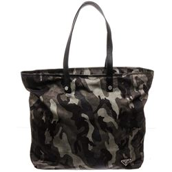 Prada Black Grey Camo Nylon Tote Bag