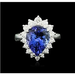 14KT White Gold 5.43 ctw Tanzanite and Diamond Ring