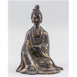Chinese Red Copper Gilt Patron Statue Wanli MK