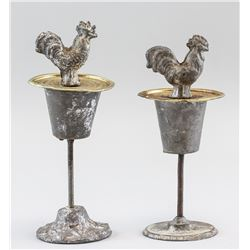 2 PC Metal Rooster with Stand