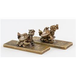 Pair Chinese Bronze Beast Paper Weight Wenchangge