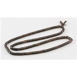 Chinese Wood Carved Tube Bead Necklace
