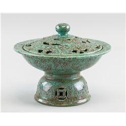 Chinese Robin's Egg Porcelain Censer Qianlong