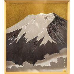 Antique Japanese Mount Fuji Tooling on Metal