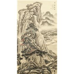 Chinese Watercolor Landscape Scroll Signed