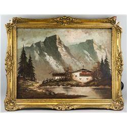 Signed Schulz German Oil on Canvas Landscape