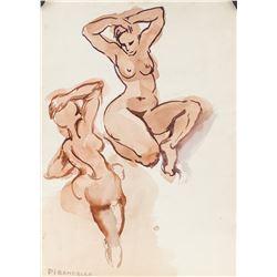 Fausto Pirandello Italian Nudes Watercolor