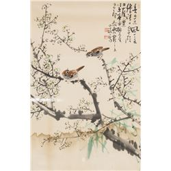 Framed Chinese Watercolor Painting Sparrows