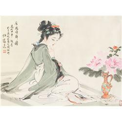 Bai Bohuo b.1944 Chinese Watercolor Beauty