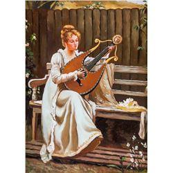 Framed Oil on Wood Portrait Instrumentalist