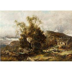 James Poole British XIV Oil on Canvas Landscape