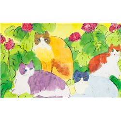 Walasse Ting Chinese-American Print on Paper Cats