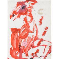 Karel Appel Dutch Modernist Watercolor on Paper