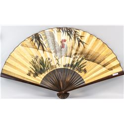Chinese Large Fan Rooster Painting