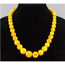 Chinese Yellow Amber Round Bead Necklace