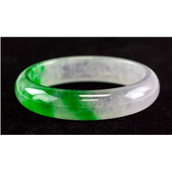Chinese Green and Lavender Jadeite Carved Bangle