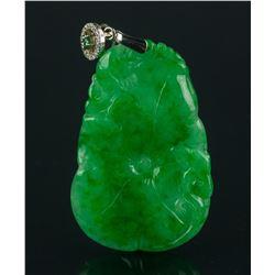 Chinese Emerald Green Jadeite Leaf Pendant