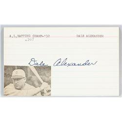Dale Alexander Autographed Cut Card COA
