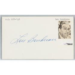 Lou Boudreau Autographed Cut Card with COA