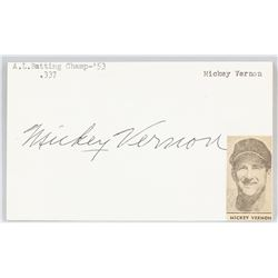 Mickey Vernon Autographed Cut Card with COA