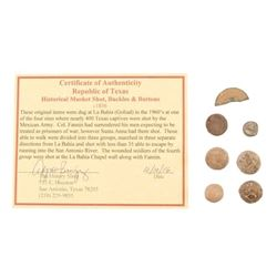 Goliad Relic Musket Balls, Buttons, & Coin Piece