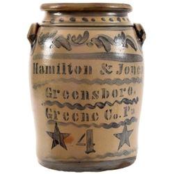 Hamilton & Jones Pennsylvania 4 Gallon Crock