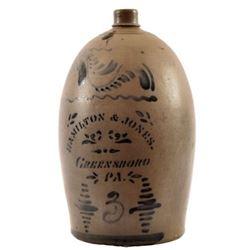 Hamilton & Jones Pennsylvania Pottery 3 Gallon Jug