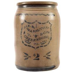 Jas. Hamilton & Co. Pennsylvania 2 Gallon Crock