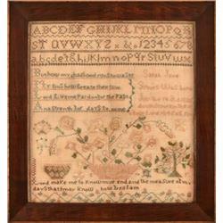 Pennsylvania Folk Art Needlework Sampler 1846