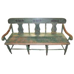Antique American Green Painted Bench