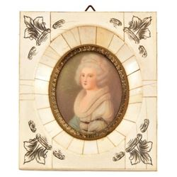 Painted Portrait in Ivory Frame