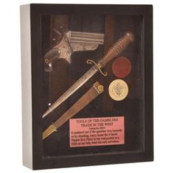 Gamblers Display Box w/Pepperbox Pistol and Knife