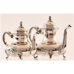 2 German Sterling Silver Tea Pots Alt Heidelberg