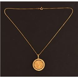 Indian Head $5 Gold Coin Pendant & Chain