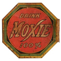 Drink Moxie Double Sided Flange Tin Sign