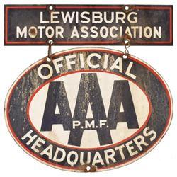 AAA Lewisburg Motor Association Porcelain Sign