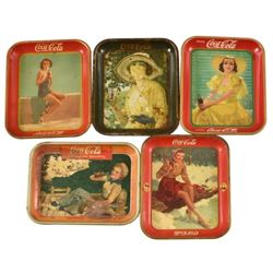 Collection of Vintage Coca-Cola Advertising Trays