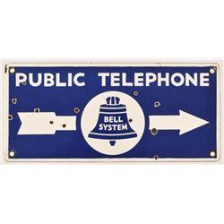 Public Telephone Bell System Porcelain Sign