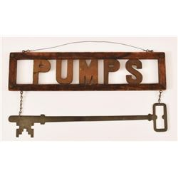 Myers Pumps Advertisement w/Key Hanging Sign