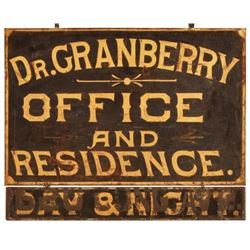 Dr. Granberry & Residence Office Hanging Tin Sign