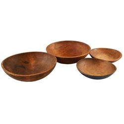 Collection Of 4 Antique Wooden Bowls