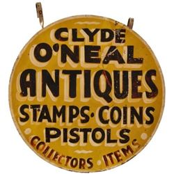 Clyde O'Neal Antiques Double Sided Tin Sign